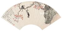 溥儒 鏡心「楓林猿戲図」