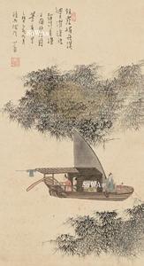 溥儒 掛軸「漁父図」