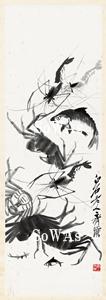 斉白石 掛軸「魚蟹図」