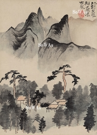 石濤 掛軸「松屋図」