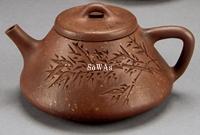 清 月壺款子冶画石瓢竹紋壺