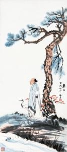 張大千 掛軸「蘇翁梅花仙鶴」