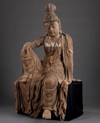宋 木彫水月観音坐像