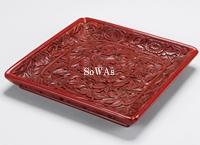 元 剔紅牡丹紋方盤
