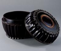 元 黒漆錫製葵花式蓋盒