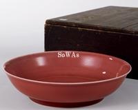 清 紅釉盤