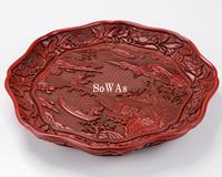 明 剔紅山水人物紋八輪盤
