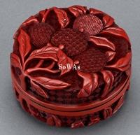 清十八世紀 剔紅荔枝紋雙面香盒