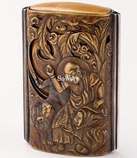 銅銀鑲嵌龍紋義淵僧正盛上文印籠