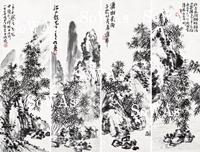蒲華 掛軸「竹景山水四屏」
