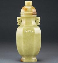 清 黄玉八棱有蓋花瓶