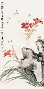 王雪濤「萱花昆蟲」掛軸