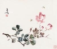 王雪濤「月季蜜蜂」額装