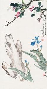 王雪濤・陳年・馬萬里「花卉」掛軸