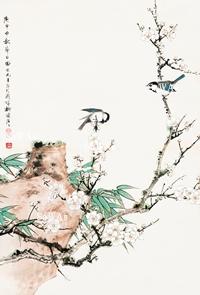 田世光「梅石雙鳥」額装