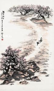 趙望雲「関中道上」掛軸