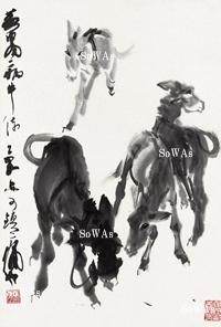 黄冑「群驢」掛軸