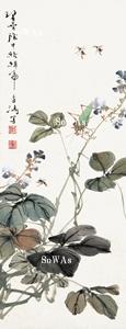 王雪濤「草蟲」掛軸