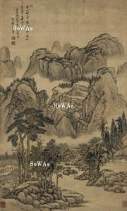 王翬(王石谷)「山水」掛軸