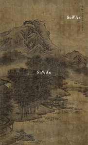袁江「山水」掛軸