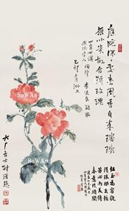 易熹「薔薇」掛軸