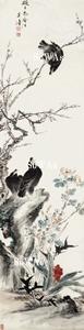 王雪濤「三喜仙壽」掛軸