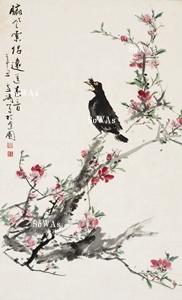 王雪濤「臨風索侶送春音」掛軸