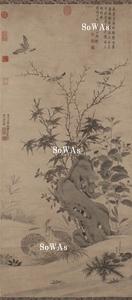 王淵(伝)「秋景鶉雀図」掛軸