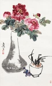 王雪濤「牡丹清供」掛軸