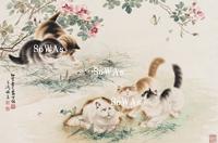 王雪濤・曹克家「薔薇猫蝶図」掛軸
