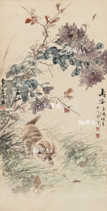 王雪濤・曹克家「壽客」掛軸