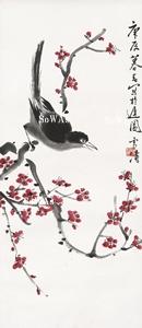 王雪濤「喜雀紅梅」掛軸