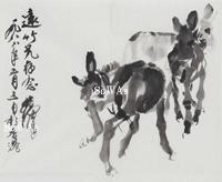 黄冑「三驢図」額装