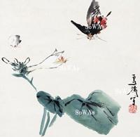 王雪濤「花蝶」掛軸