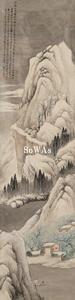 林紓「雪景山水」掛軸