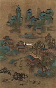 趙伯駒(伝)「青緑山水」掛軸