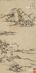 萬壽祺(万寿祺)「仿倪山水」掛軸