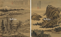唐俊(石耕)「山水双幅」掛軸