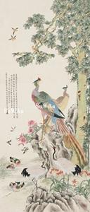 沈雲霞「花鳥」掛軸