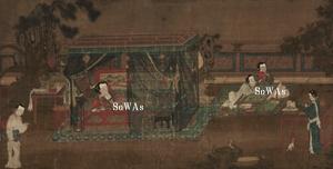李公麟(伝)「宮女図」掛軸