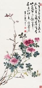 陳半丁(陳年)「薔薇」額装