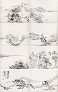 黄易「山水八題」冊頁