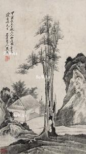 呉歴「山居図」掛軸
