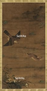 呂紀「鷹兔圖」掛軸