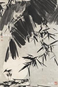 韓天衡「月夜」掛軸