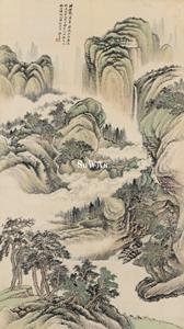 姜筠「山水」掛軸