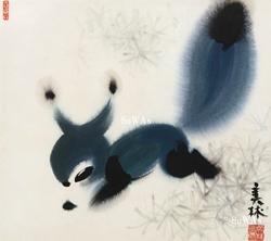 韓美林「藍狐」額装