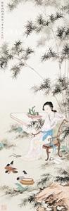 黄均「竹陰調鴿図」掛軸