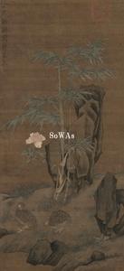 徐熙(伝)「鵪鶉図」額装