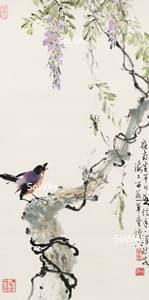 黄幻吾「花鳥」掛軸